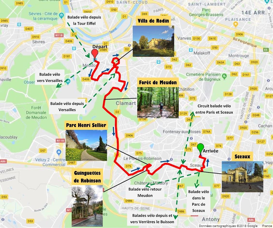 Tracé Balade à vélo de Meudon à Sceaux par veloiledefrance.com