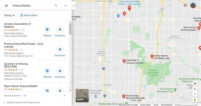 "Google Maps search for ""Arizona Realtor"""