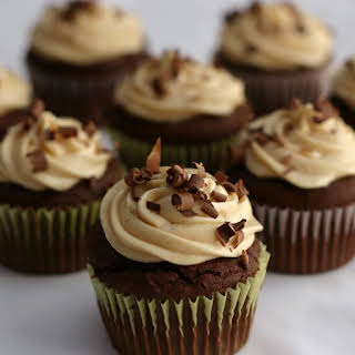 Chocolate Peanut Butter Cupcakes with Whipped Peanut Butter Cream Cheese Frosting.