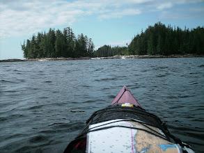 Photo: Approaching shell beach campsite on Fitz Hugh Sound.
