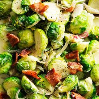 Lemon Cream Brussels Sprouts with Bacon and Sage