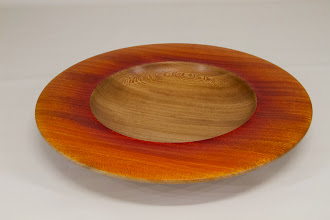 "Photo: Tina Chisena 10"" x 1 1/4"" platter [Sycamore, dye] from Jimmy Clewes Workshop"