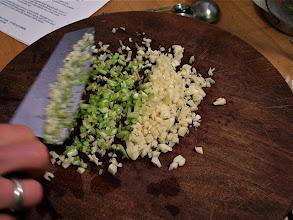 Photo: chopped garlic and cilantro roots