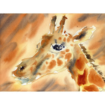 Giraffe animal art Africa painting orignal watercolour