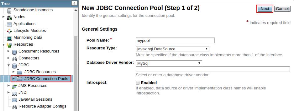 create new jdbc connection pool