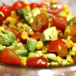 Grilled Corn, Tomato & Avocado Salad with Honey Lime Dressing