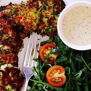 Zucchini & Halloumi Fritters With Green Beans & Rocket