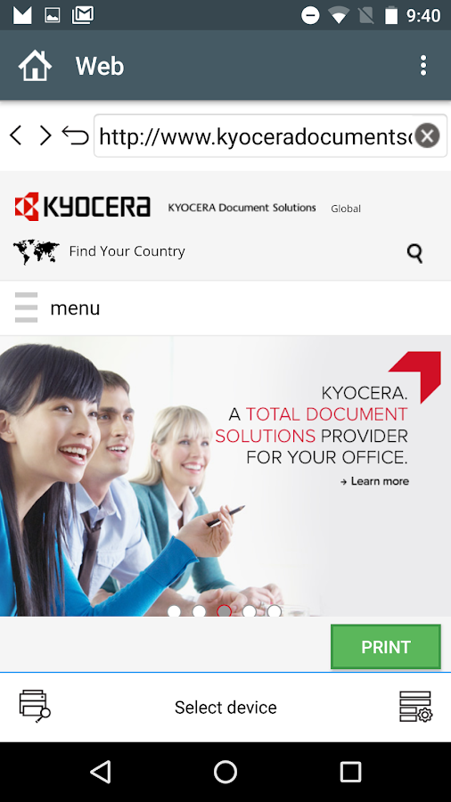 KYOCERA Mobile Print- screenshot