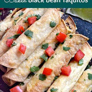 Baked Black Bean Taquitos with Avocado Cream.
