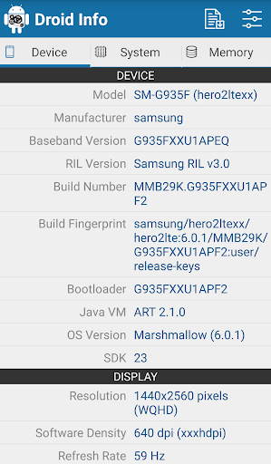 Droid Hardware Info screenshot 1