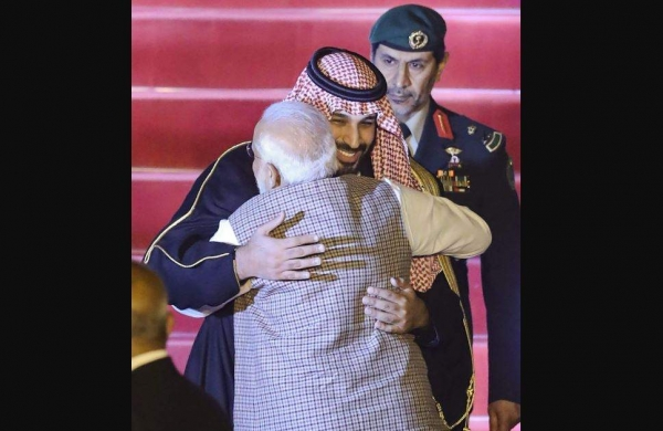 Image result for pm hugs crown prince