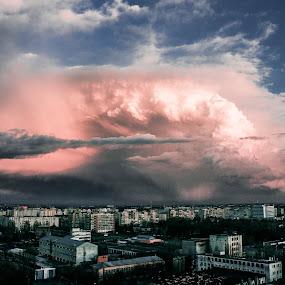 SuperCell around Bucharest by Matei Edu - Landscapes Weather ( #cloud #skyline #skyporn #bucharest #ig_bucharest #ig_romania #enjoybucharest #weather #supercell,  )