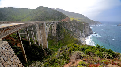 Photo: 162. Just less than a mile further south is the more famous Bixby Bridge, also built in 1932. If you're wondering how I got this sort of sweeping shot, it's with a 10-20 mm lens, zoomed out all the way to its furthest wide angle setting, 10mm. I use this lens quite often on trips, particularly for landscapes. If you have a dSLR, I highly recommend this type of lens for travel photography. It's pricy for sure (about $400-500), but if you go this route, you'll wonder how you ever got by without it. It records so much more of what our eyes see from what any one spot.