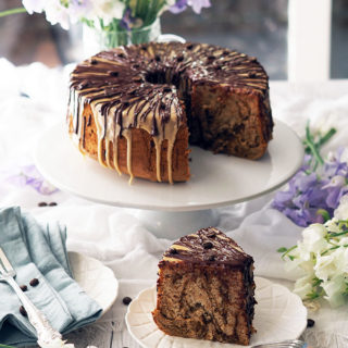 Coffee Marble Chiffon Cake drizzled with Dark Chocolate