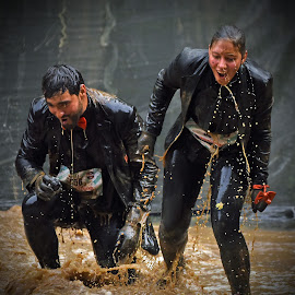 Black'n Black by Marco Bertamé - Sports & Fitness Other Sports ( water, splatter, differdange, 2015, number, soup, waterdrops, luxembourg, muddy, strong, woman, dirty, 556, drops, lady, brown, strongmanrun, man,  )