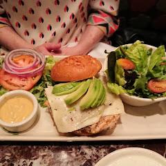 Chicken sandwich on gluten free bun with salad.