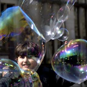 Buble Face by Alexandru Bogdan Grigore - Babies & Children Child Portraits ( joy, bubbles, children, happiness, crowd, street photography )