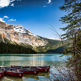 by Monte Arnold - Landscapes Mountains & Hills ( beautiful, decorate, canoes, british columbia, scenic, lake, staging, emerald )