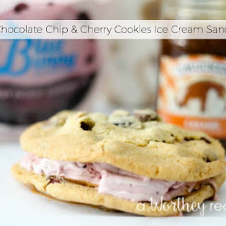 Double Chocolate Chip & Cherry Cookies Ice Cream Sandwiches