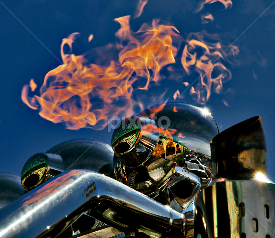 Flaming exhaust by Peter Greenhalgh - City,  Street & Park  Street Scenes ( flames, blue sky, truck, reflections, exhaust )