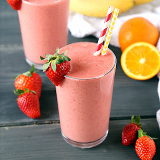 Strawberry Banana Orange Power Smoothie.