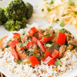 Pepper Steak Over Rice.