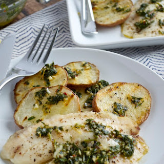 Tilapia with Grilled Potatoes and Chimichurri
