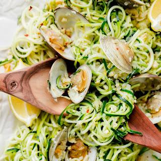 Zucchini Pasta with Garlic Clam Sauce.