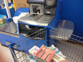Photo: Time to check out!  Self checkout it is today -- every other line as busy.