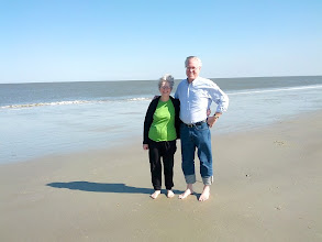 Photo: Fred and Maxine at Atlantic Ocean beach on Tybee Island
