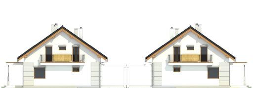 Nowinka V z garażem i wiatą bliźniak A1-BL1 - Elewacja tylna