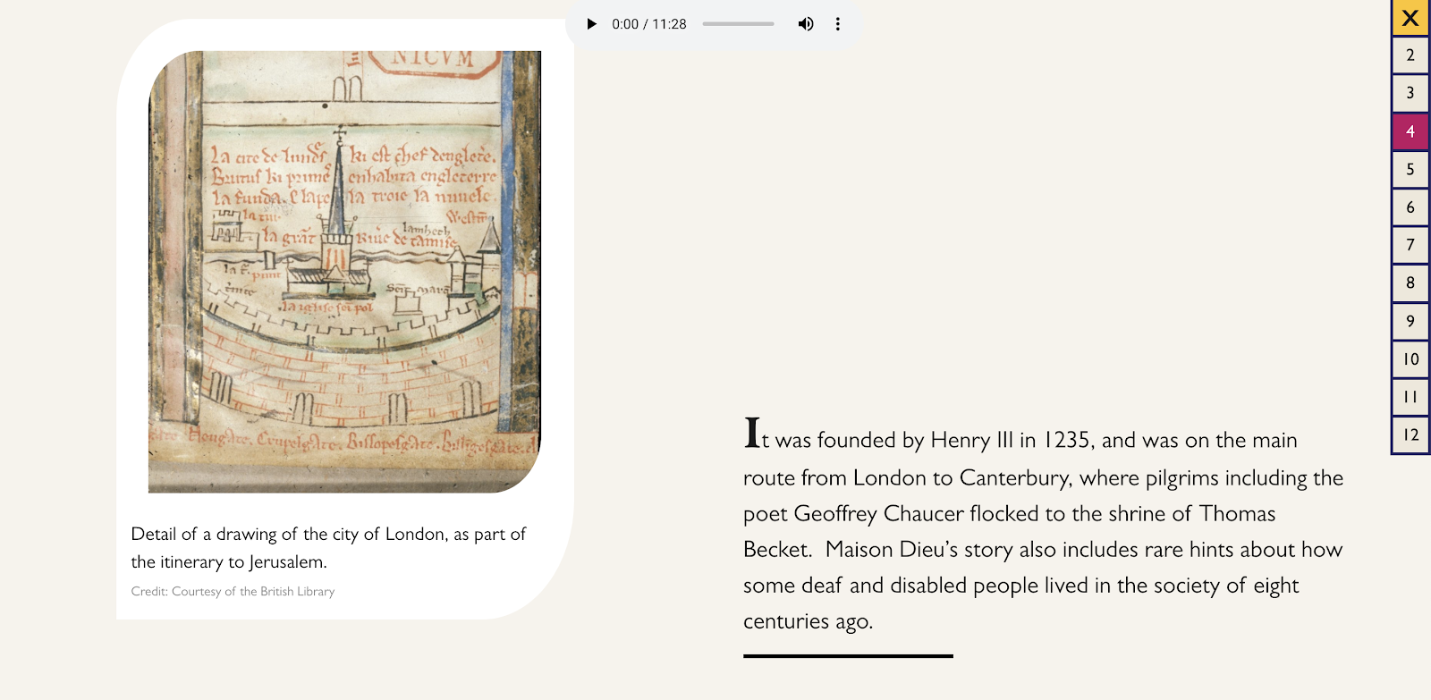 A web page with a mediaeval drawing of a city surrounding a cathedral alongside some descriptive text