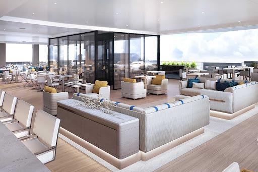 evrima-ritz-carlton-yacht-marina-lounge.jpg - The classy Marina Lounge at the aft of Evrima, the new ship from Ritz-Carlton.