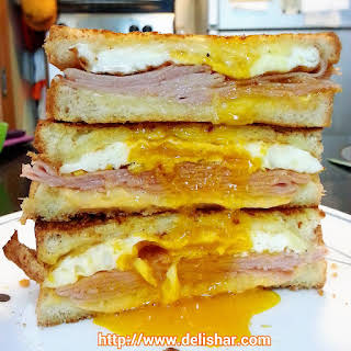 Ham and Egg Grilled Cheese Sandwich.