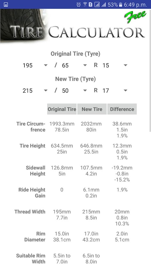 Tire Size Calculator Free Android Apps On Google Play