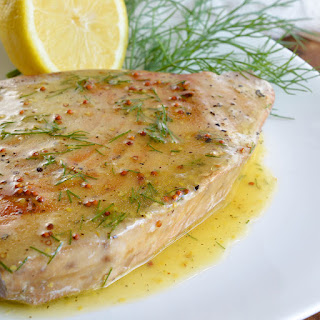 Pan Seared Tuna Steak with Lemon Dill Sauce.
