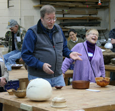 Photo: Steve Keeble keeps the crowd smiling as he compliments the modern features in this well used bowl.
