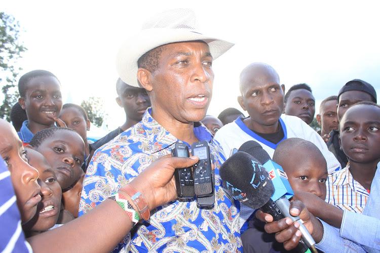 Gatanga MP Joseph Nduati in Gatanga Primary School on Sunday.