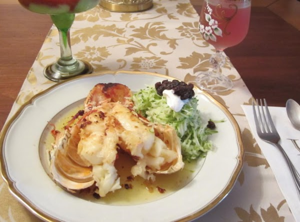 Grilled Lobster Tails With Herb Butter And Zukiny Raisin Pasta Recipe