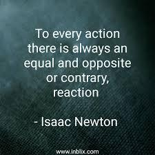 To every action there is alway by Issac Newton | InBlix