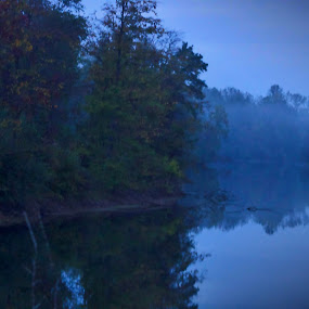 Early Morning Lakeside by Ty Shults - Landscapes Waterscapes ( water, reflection, tree, fog, forest, lake, sunrise, burn, pond,  )