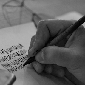 Capitalis by Alexandre Mestre - People Professional People ( capitalis, beja, roman, writing, portugal, pen, black and white, ancient, labor, hand )