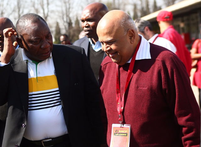ANC deputy president Cyril Ramaphosa and former finance minister Pravin Gordhan at the 14th congress of the SACP held at Birchwood Hotel. Picture: MASI LOSI