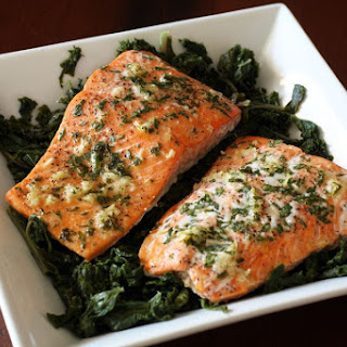 Baked Salmon With Garlic.