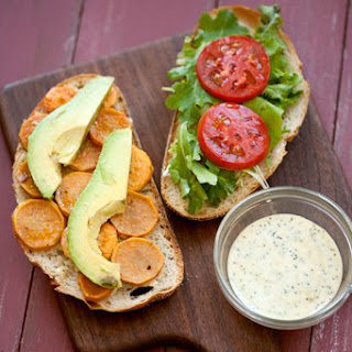 Sweet Potato and Avocado Sandwiches with Poppy Seed Spread.