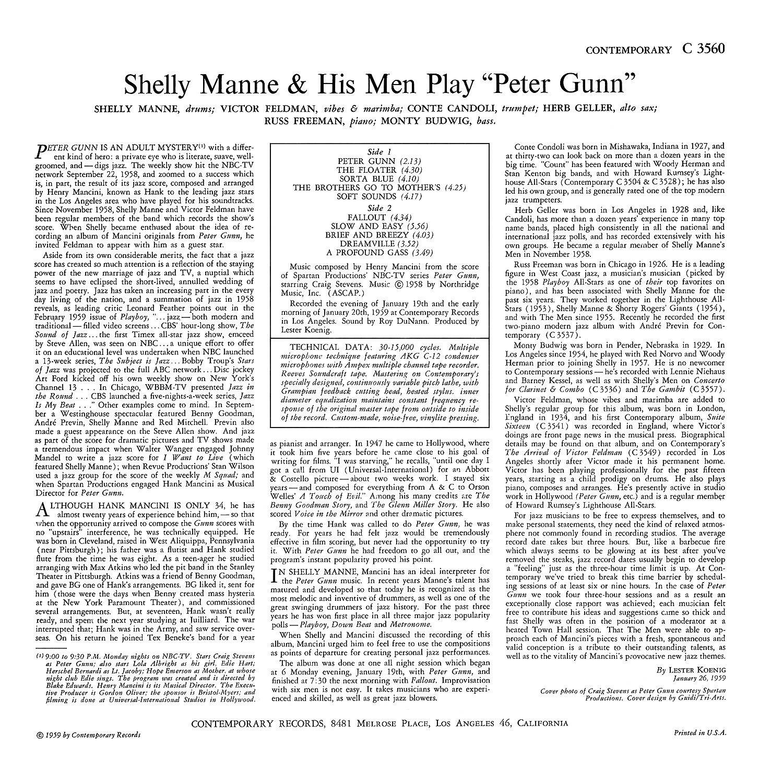Henry Mancini, Shelly Manne
