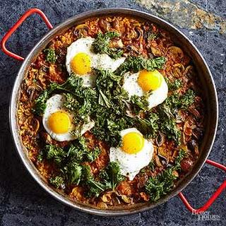 Kale and Mushroom Paella.