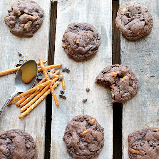 Salted Caramel Pretzel Chocolate Cake Mix Cookies