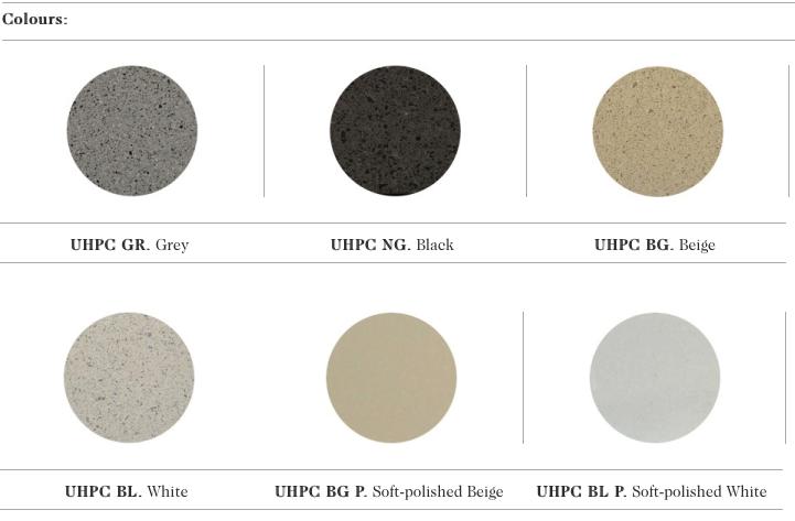 De kleur mogelijkheden in UHPC beton voor de Prima zitbanken uit de collectie van Escofet 1886