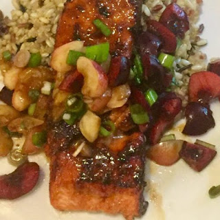Sugar and Spice Salmon with Cherry Relish.